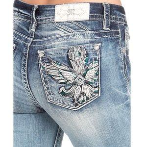Miss MeWing Embellished Pocket Easy Skinny Jeans